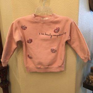 ZARA Girls Light Pink Sweater w/ Lips Design- 8Y